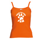 Ladies Talk To The Paw Vest - Cute Animal Lover Puppy Pup Cat New Strap Top Gift