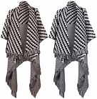 Women Aztec Ladies Tassle Uneven Hankey Hem Long Poncho Knitted Open Cardigan