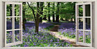 3D Window Effect on Canvas Bluebell Woods Forest Picture English Wall Art Print