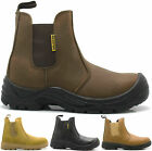 MENS DEALER SLIP ON CHELSEA SAFETY WORK BOOTS STEEL TOE CAP LADIES LEATHER SIZE