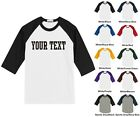 Custom Personalized Youth Raglan Baseball T-shirt, Front Only, STRAIGHT TEXT