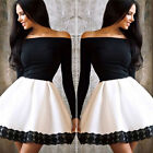 Vintage Lace Women's Sexy Off Shoulder Long Sleeves Party Casual Short Dress New
