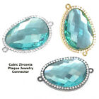 Aquamarine ZIrconia Crystal Bracelet connector Charm Plated Cooper Material 1pc