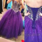 Glamorous Purple Quinceanera Dresses prom Party Dress sparkly Formal Wedding