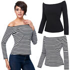 Simple Retro Pinstripe Dress Womens Long Sleeve Off Shoulder Blouse Top T-shirt