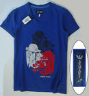 NWT Armani Jeans LOGO T-Shirt V-Neck Tee in Blue Size S