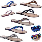 WOMENS LADIES SPARKLING BEADED CASUAL SUMMER TOEPOST FLIP FLOP SANDALS SIZE 3-8