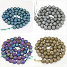 New fashion electroplate natural crystal drusy agate multicolor round beads 6mm
