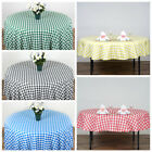 """90"""" Checkered Gingham Tablecloth Polyester Round Linens Wedding PARTY"""
