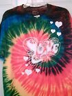 Tshirt Tie Dyed Love Multi Color Psychedelic Rhasta White Print S/S Cotton S M L