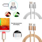 1M Braided Aluminum GLOW Light-up LED Micro USB Fast Charger Data Sync Cable Lot