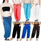 New Ladies Womens Plain Italian Baggy Belted Trousers Pants Harem Size 8 10 12 S