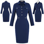 Elegant Ladies Vintage Formal Party 50s Buttons Wiggle Pencil Bodycon Dress