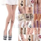 Sexy Women's Jacquard Pantyhose Tattoo Footed Tights Pattern Stockings
