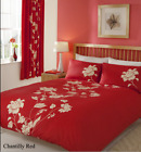 Double Duvet Cover with 2 Pillowcases Chantilly Red Quilt Cover Bedding Set