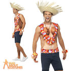 Adult Hawaiian Vest Floral Flowers Coconuts Lei Costume Fancy Dress Outfit New