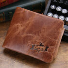 100% Man Wallet Genuine Leather Zip Coin Pocket Leather Purse Crazy horsehide