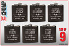 Groomsman Gifts Set of 9 Personalized Engraved Flask, Wedding Bridesmaid Party