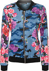 Womens Floral Camouflage Bomber Jacket Long Sleeve Zip Fastening Print Stretch