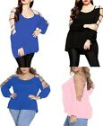 Summer Long Sleeve Clothes Plus Casual Swing Arm Tops Sexy Women Cut out Blouses