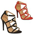 WOMENS LADIES STILETTO HIGH HEEL PARTY OPEN PEEP TOE STRAPPY SANDALS SHOES SIZE