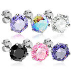 PAIR 316L Surgical Steel CZ Gem Stud Earrings, choose color and gem size