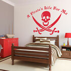 A Pirate's Life For Me Jolly Roger Skull Vinyl Wall Decal transfer sticker K270W