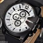 Men's Dial Watches Leather Stainless Steel Quartz Military Wrist Watch Sport NEW