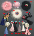 5-20pcs black/ivory/pink sequins Rhinestones beads tassel appliques patch 3874