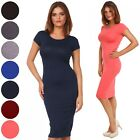 Glamour Empire. Women's Fitted Midi Length Dress Crew Neckline Cap Sleeves. 099