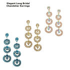 Stylish Crystal Three Crowns Long Bridal Chandelier Cocktail Earrings Plated