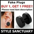 Stainless Steel Black Fake Flesh Plug Earring Ear Stud Stretcher Piercing Mens