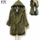 US 2017 Fashion Women Casual Army Green Military Parka Trench Hooded Coat Jacket