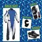 Blue nd White Go Kart pack  (includes Suit, Gloves, Balaclava & Shoes) free bag