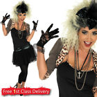 Ladies 80s Fancy Dress Madonna Costume includes Necklace Pop Star UK Size 8-30