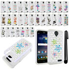 For ZTE Grand X3 Z959 N9519 Crystal Bling HYBRID Case Protective Cover + Pen