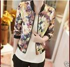 New Fashion Women Long Sleeve Stand Collar Zipper Floral Printed Bomber Jacket