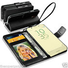 GENUINE REAL LEATHER WALLET CASE  FOR SONY XPERIA XA + SCREEN PROTECTOR