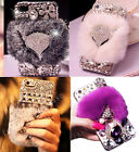 3D Handmade Luxury Bling Diamonds Crystal Furry Rabbit Fur Back Phone Case Cover