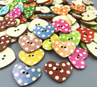 Retro Wooden Dot Heart Buttons Fit Sewing 2-holes scrapbooking craft 25mm