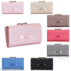 BLUE BLACK PINK BROZE GREY Faux Leather Bow Purse Wallet #A806