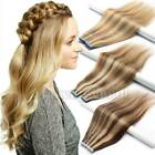 20/40pcs Tape in 100% Remy Human Hair Extensions Black Brown Blonde Virgin AU