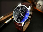 Fashion Men's Leather Stainless Steel Military Sport Analog Quartz Wrist Watch