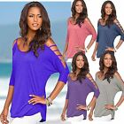 Cutout Cold Shoulder Open Half Sleeve Women's Fashion Drape Loose Top O-Neck GB2