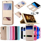 S-View Dual Window Leather Stand Flip Wallet Case For Samsung Galaxy Smart Phone