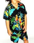 kids boys black scarlet parrot bird hawaiian matching set shirt shorts 1-8 yrs