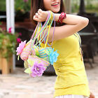 Chic Women Girl Baby Kid Straw Shoulder Beach Messager Flower Bag Handbag