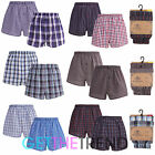 Mens 4 Pack Cargo Bay Woven Cotton Boxer Shorts Mens Loose Check Stripe Trunks