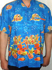 mens rare blue tropical fish bubbles hawaiian wedding ibizassss shirt sz S - 3XL