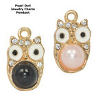 Owl Protection Paved Cooper Crystal Pearl Jewelry Pendant Charm Gold Plated 6pcs